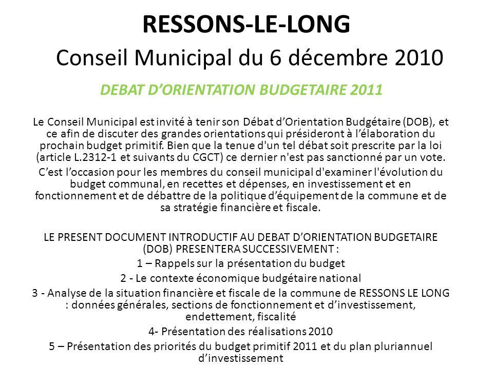 RESSONS-LE-LONG Conseil Municipal du 6 décembre 2010 DEBAT DORIENTATION BUDGETAIRE 2011 Le Conseil Municipal est invité à tenir son Débat dOrientation Budgétaire (DOB), et ce afin de discuter des grandes orientations qui présideront à lélaboration du prochain budget primitif.