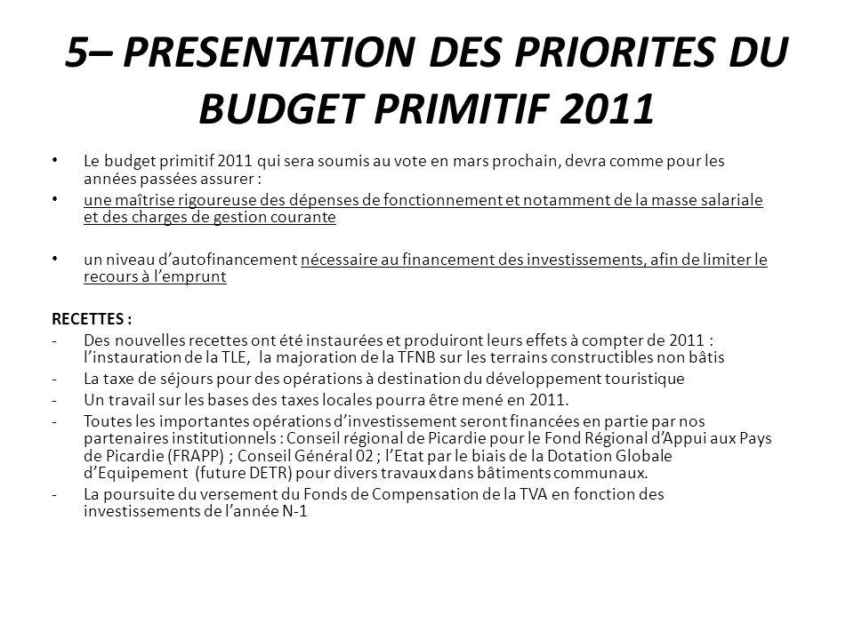 5– PRESENTATION DES PRIORITES DU BUDGET PRIMITIF 2011 Le budget primitif 2011 qui sera soumis au vote en mars prochain, devra comme pour les années pa