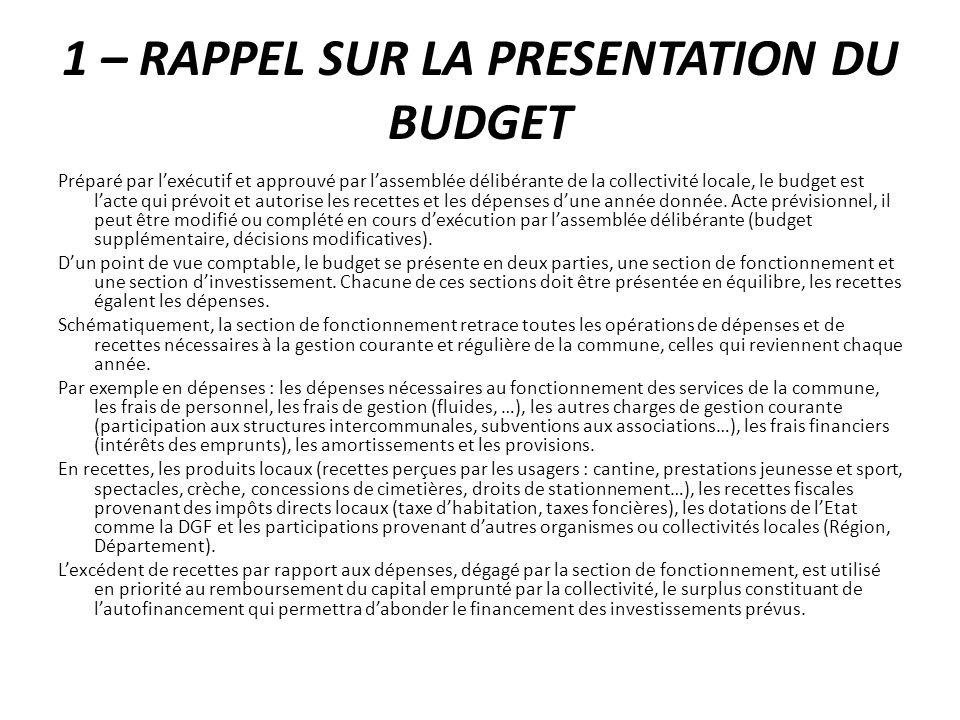 1 – RAPPEL SUR LA PRESENTATION DU BUDGET Préparé par lexécutif et approuvé par lassemblée délibérante de la collectivité locale, le budget est lacte q