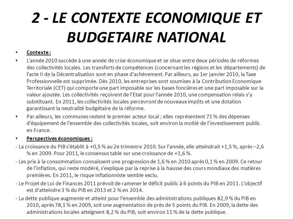 2 - LE CONTEXTE ECONOMIQUE ET BUDGETAIRE NATIONAL Contexte : Lannée 2010 succède à une année de crise économique et se situe entre deux périodes de réformes des collectivités locales.