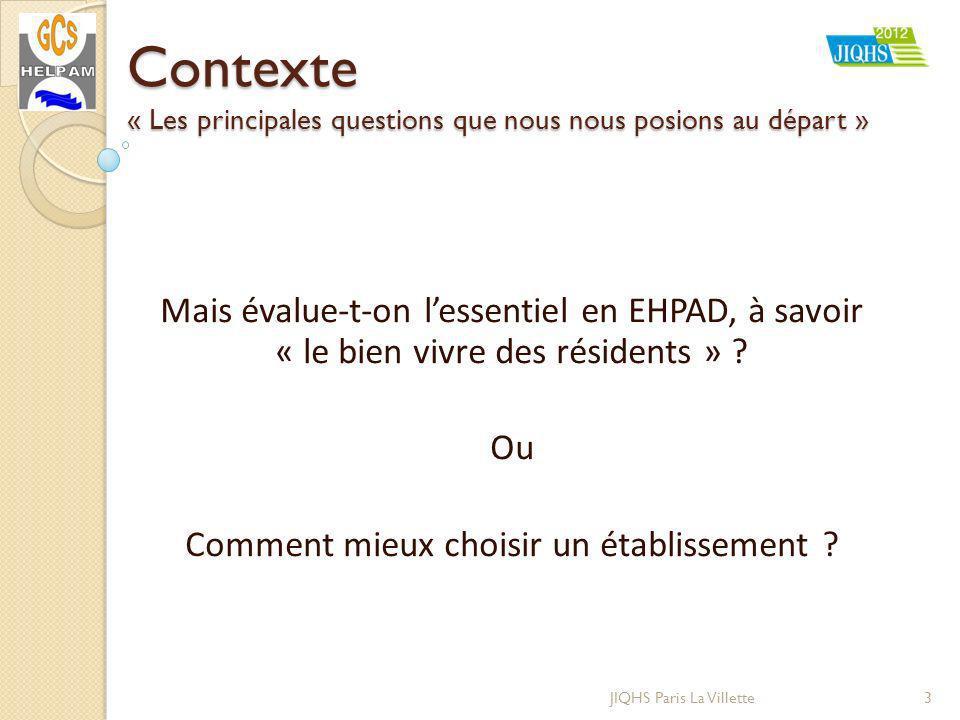 Contexte « Les principales questions que nous nous posions au départ » Mais évalue-t-on lessentiel en EHPAD, à savoir « le bien vivre des résidents » .