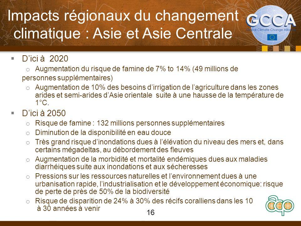 Impacts régionaux du changement climatique : Asie et Asie Centrale Dici à 2020 o Augmentation du risque de famine de 7% to 14% (49 millions de personn
