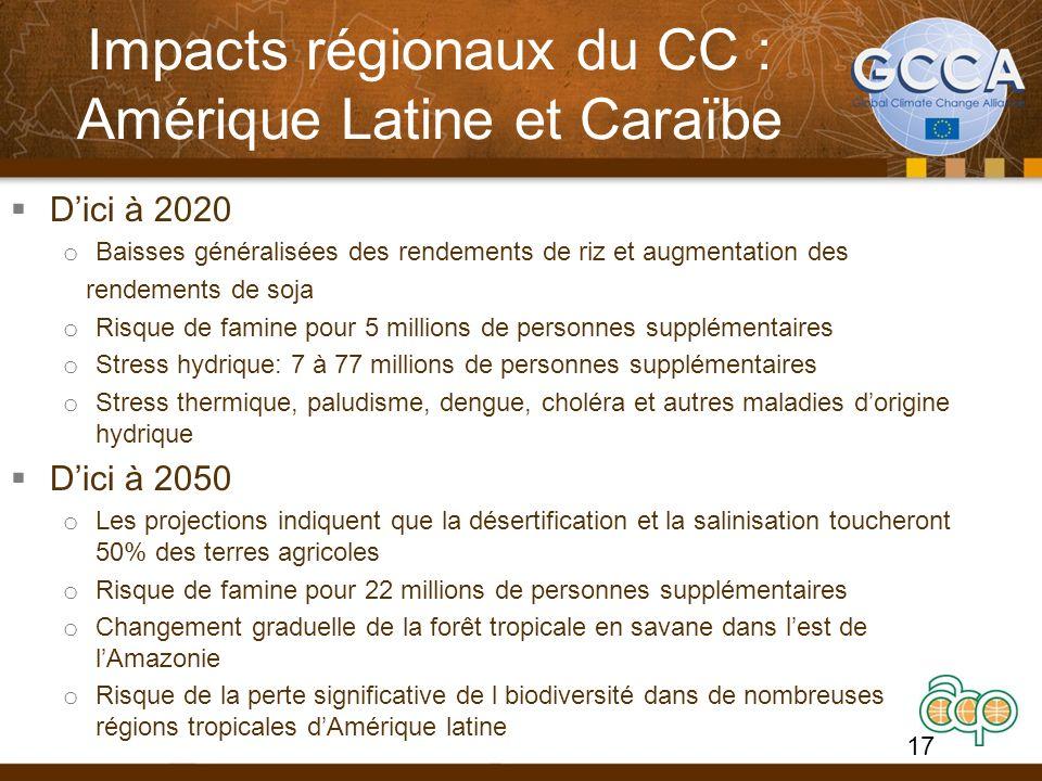 Impacts régionaux du CC : Amérique Latine et Caraïbe Dici à 2020 o Baisses généralisées des rendements de riz et augmentation des rendements de soja o