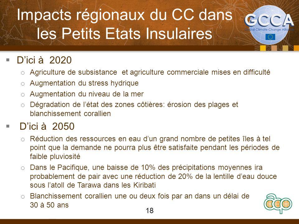Impacts régionaux du CC dans les Petits Etats Insulaires Dici à 2020 o Agriculture de subsistance et agriculture commerciale mises en difficulté o Aug