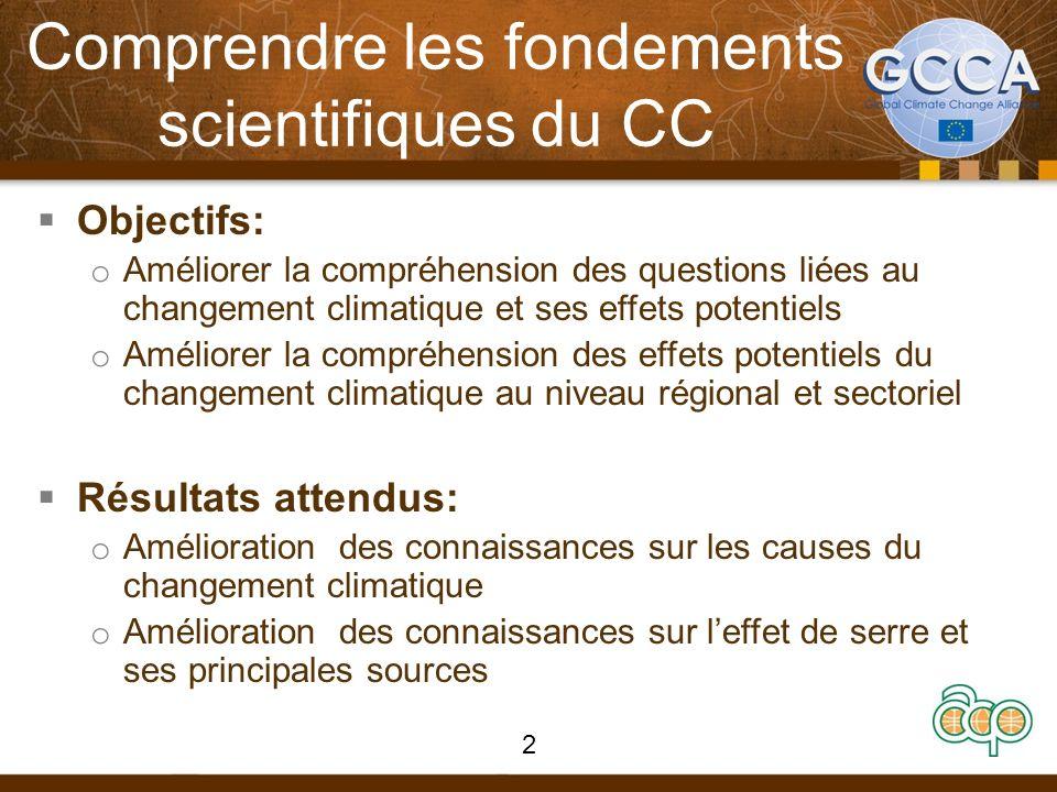 Comprendre les fondements scientifiques du CC Objectifs: o Améliorer la compréhension des questions liées au changement climatique et ses effets poten