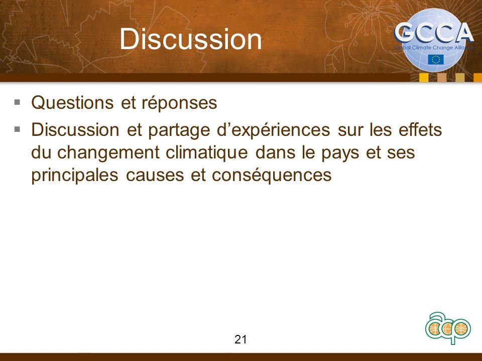 Discussion Questions et réponses Discussion et partage dexpériences sur les effets du changement climatique dans le pays et ses principales causes et