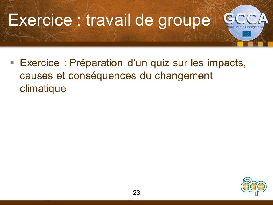 Exercice : travail de groupe Exercice : Préparation dun quiz sur les impacts, causes et conséquences du changement climatique 23