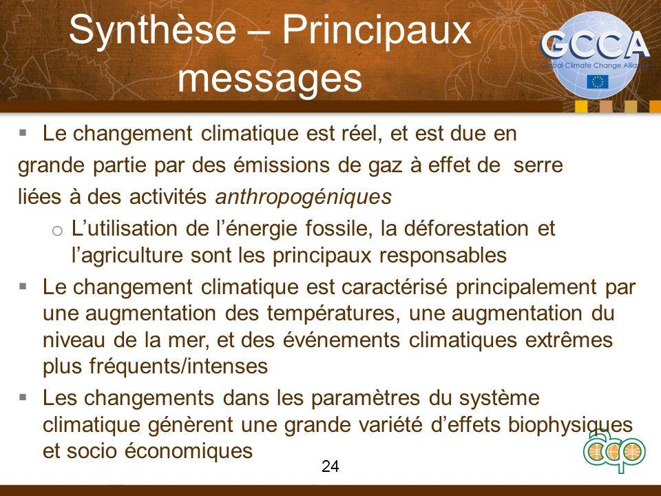 Synthèse – Principaux messages Le changement climatique est réel, et est due en grande partie par des émissions de gaz à effet de serre liées à des ac