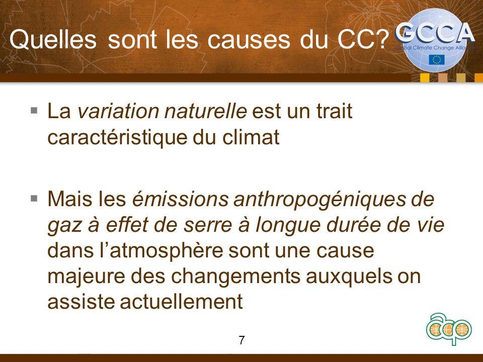 Quelles sont les causes du CC? La variation naturelle est un trait caractéristique du climat Mais les émissions anthropogéniques de gaz à effet de ser