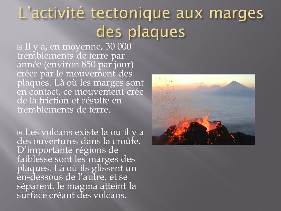 Lactivité tectonique aux marges des plaques Il y a, en moyenne, 30 000 tremblements de terre par année (environ 850 par jour) créer par le mouvement d
