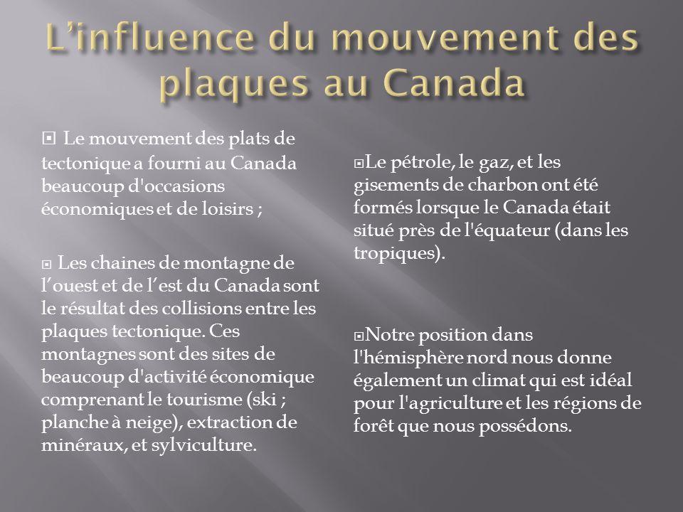 Le mouvement des plats de tectonique a fourni au Canada beaucoup d'occasions économiques et de loisirs ; Les chaines de montagne de louest et de lest