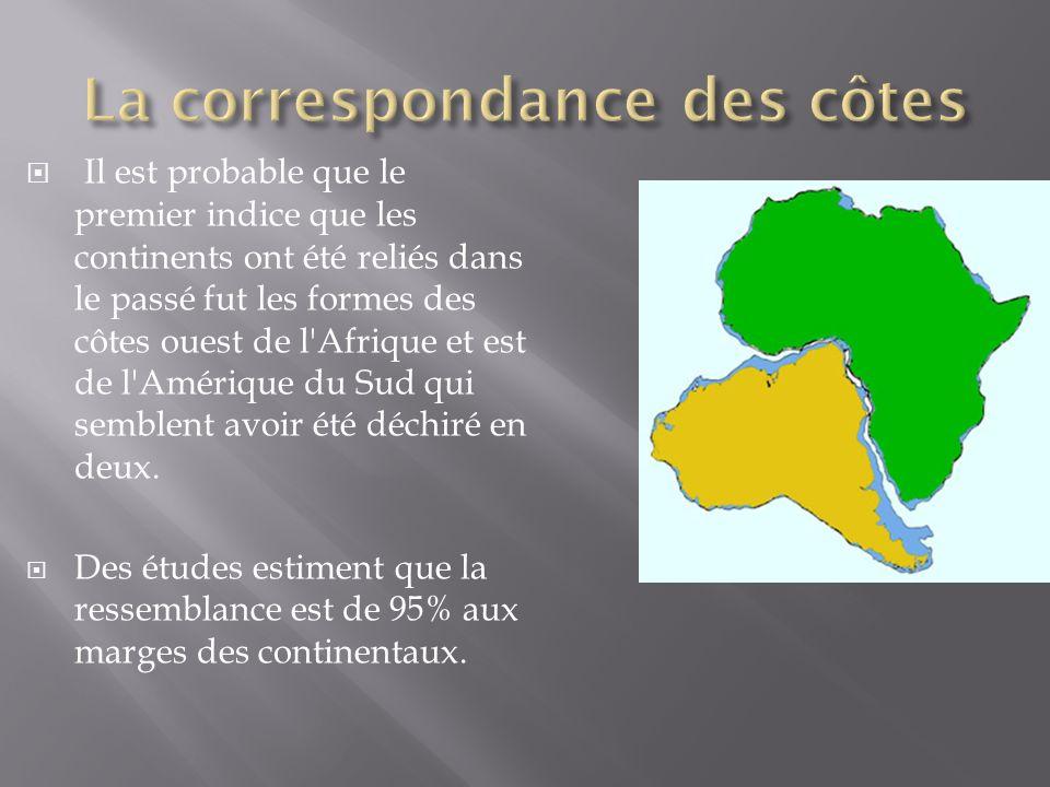 Il est probable que le premier indice que les continents ont été reliés dans le passé fut les formes des côtes ouest de l'Afrique et est de l'Amérique