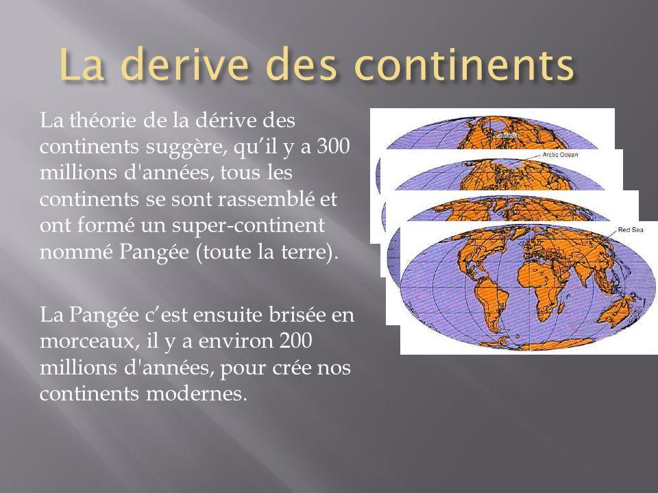 La derive des continents La théorie de la dérive des continents suggère, quil y a 300 millions d'années, tous les continents se sont rassemblé et ont