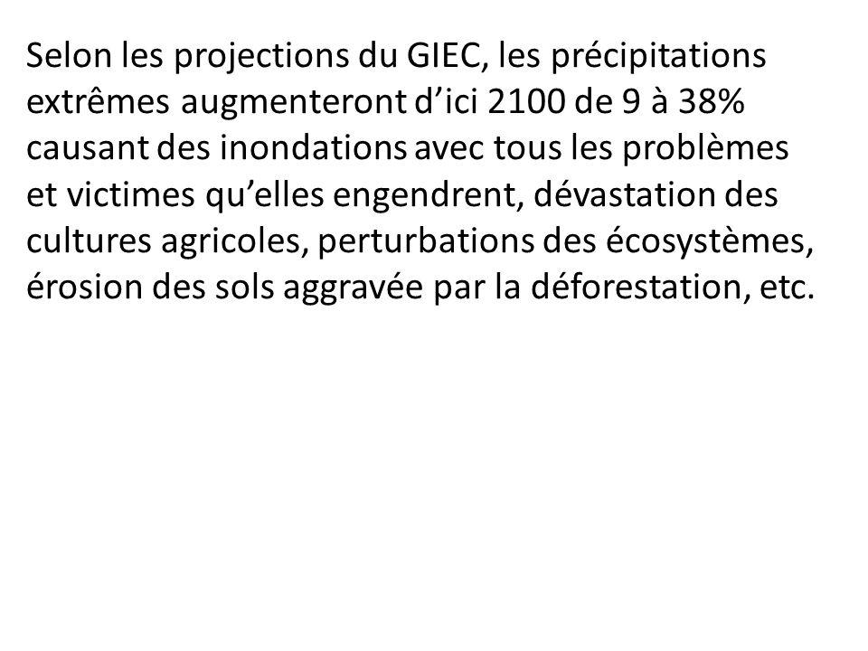 Selon les projections du GIEC, les précipitations extrêmes augmenteront dici 2100 de 9 à 38% causant des inondations avec tous les problèmes et victim