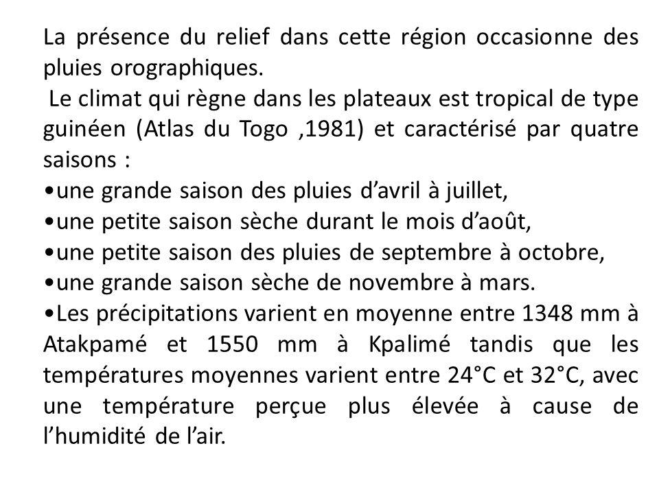 La présence du relief dans cette région occasionne des pluies orographiques. Le climat qui règne dans les plateaux est tropical de type guinéen (Atlas