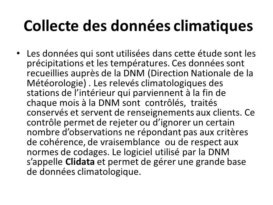 Collecte des données climatiques Les données qui sont utilisées dans cette étude sont les précipitations et les températures. Ces données sont recueil