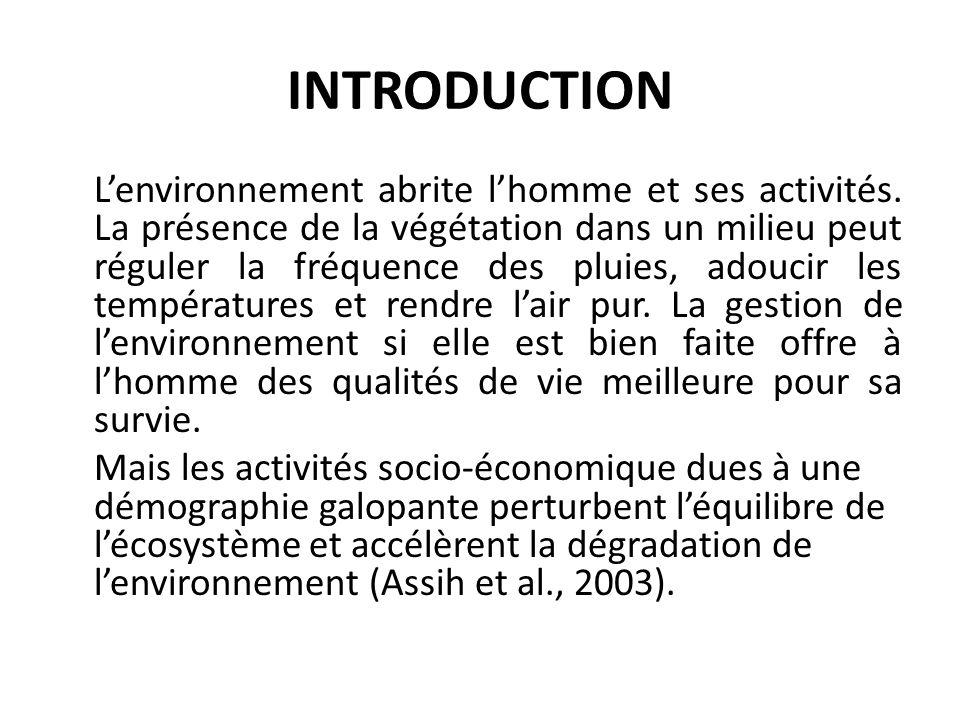 INTRODUCTION Lenvironnement abrite lhomme et ses activités. La présence de la végétation dans un milieu peut réguler la fréquence des pluies, adoucir