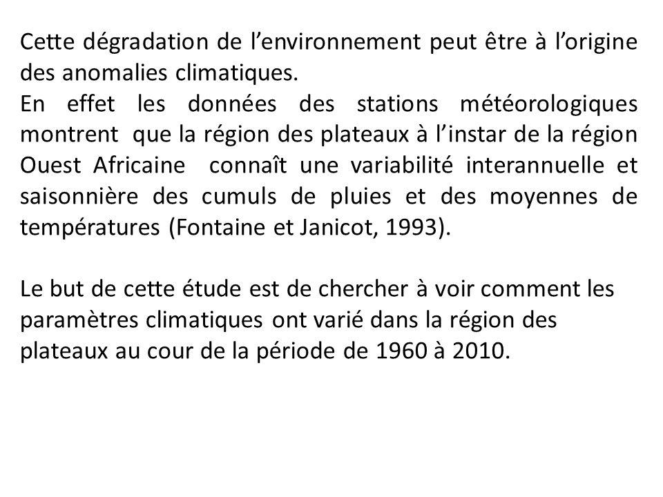 Cette dégradation de lenvironnement peut être à lorigine des anomalies climatiques. En effet les données des stations météorologiques montrent que la