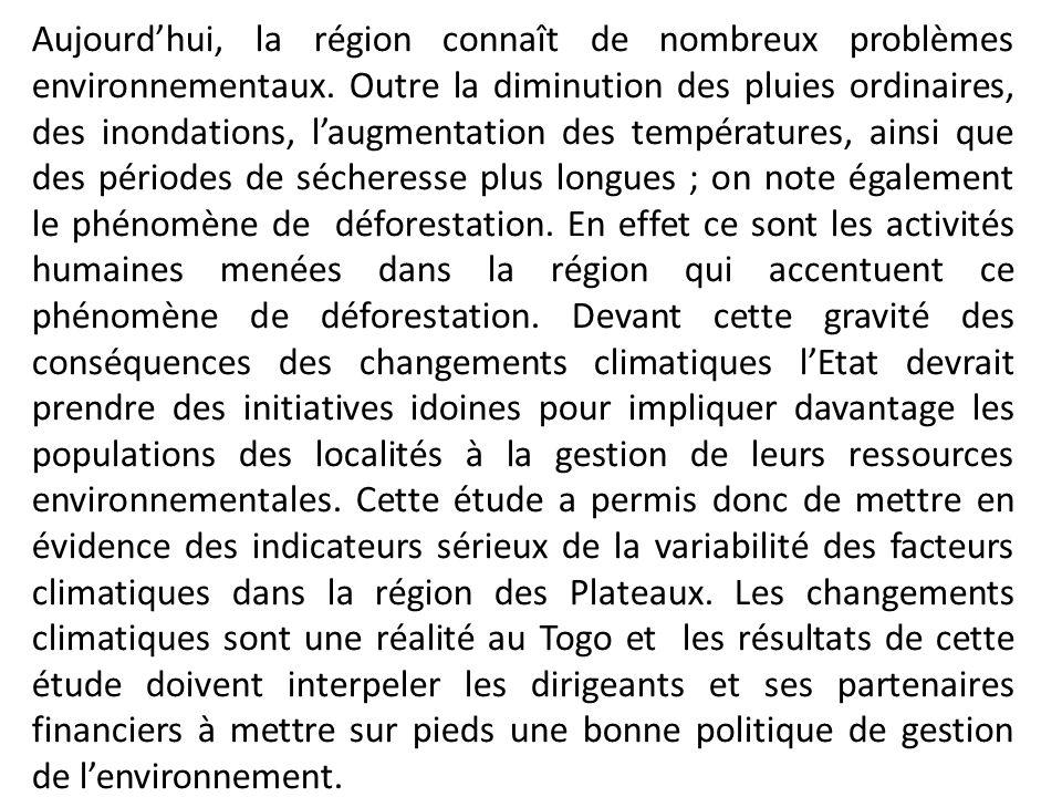 Aujourdhui, la région connaît de nombreux problèmes environnementaux. Outre la diminution des pluies ordinaires, des inondations, laugmentation des te