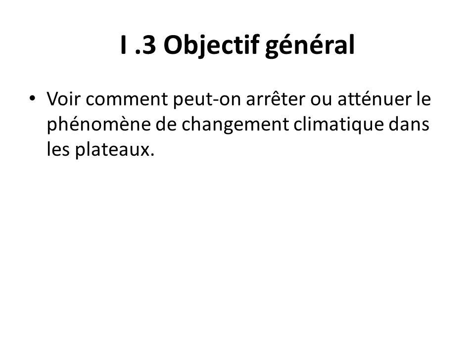 I.3 Objectif général Voir comment peut-on arrêter ou atténuer le phénomène de changement climatique dans les plateaux.