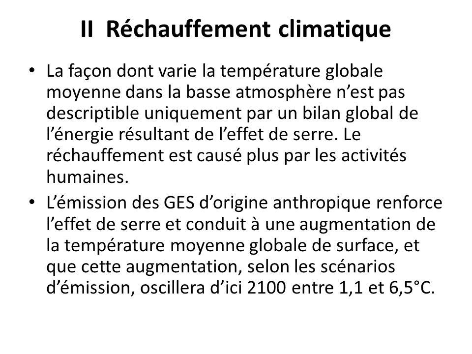II Réchauffement climatique La façon dont varie la température globale moyenne dans la basse atmosphère nest pas descriptible uniquement par un bilan