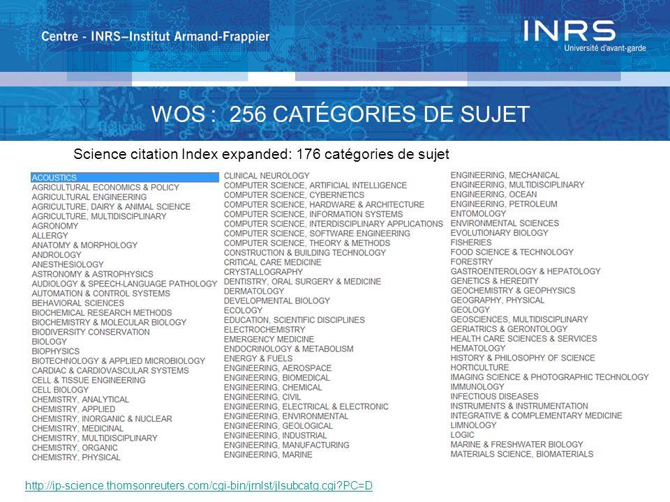 http://ip-science.thomsonreuters.com/cgi-bin/jrnlst/jlsubcatg.cgi?PC=D WOS : 256 CATÉGORIES DE SUJET Science citation Index expanded: 176 catégories d