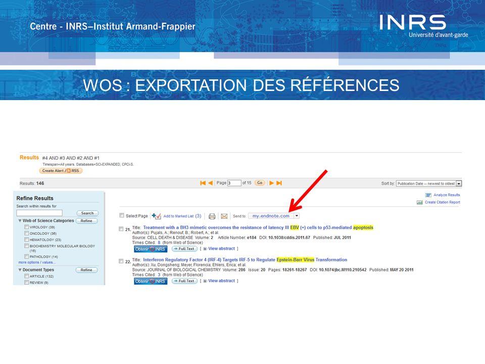 WOS : EXPORTATION DES RÉFÉRENCES