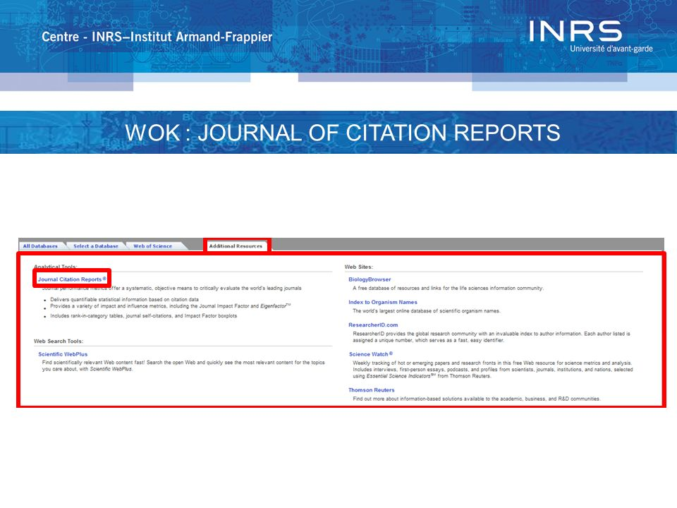 WOK : JOURNAL OF CITATION REPORTS