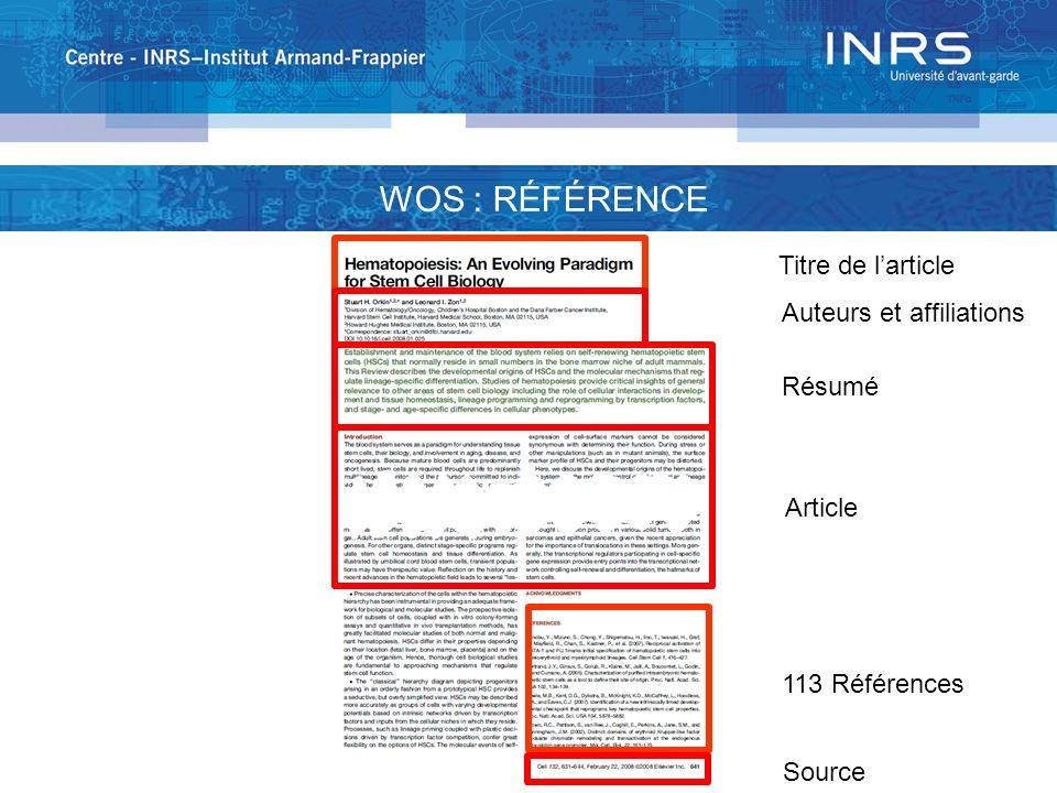 WOS : RÉFÉRENCE 113 Références Titre de larticle Auteurs et affiliations Résumé Article Source