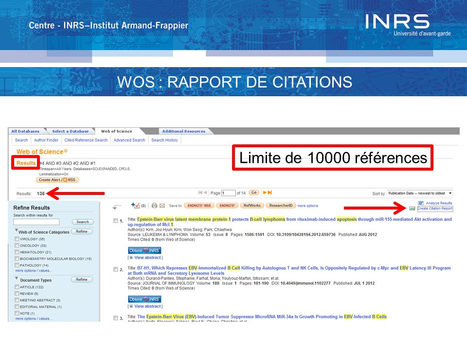 WOS : RAPPORT DE CITATIONS Limite de références