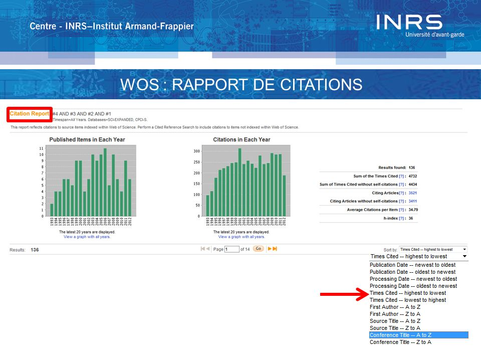 WOS : RAPPORT DE CITATIONS
