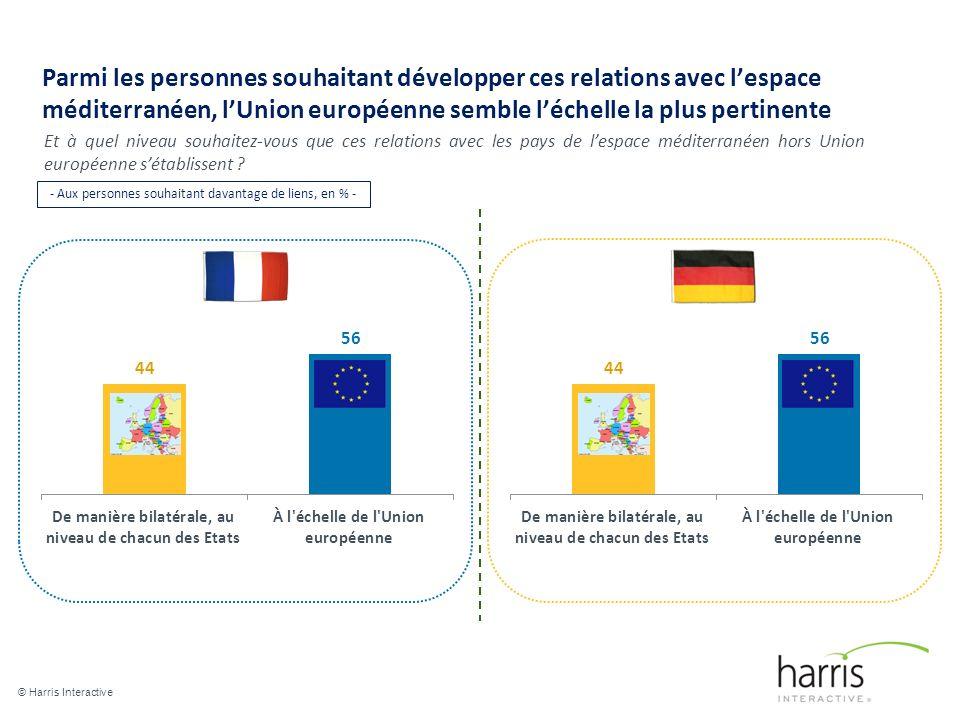 Parmi les personnes souhaitant développer ces relations avec lespace méditerranéen, lUnion européenne semble léchelle la plus pertinente © Harris Interactive 19 Et à quel niveau souhaitez-vous que ces relations avec les pays de lespace méditerranéen hors Union européenne sétablissent .