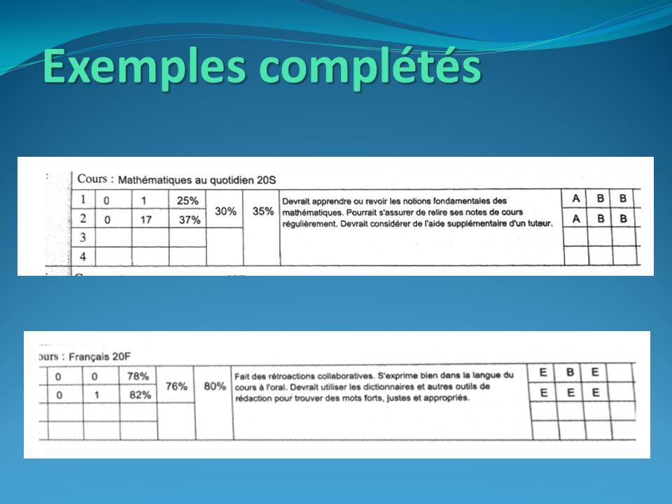 Exemples complétés