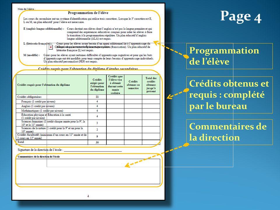 Page 4 Programmation de lélève Crédits obtenus et requis : complété par le bureau Commentaires de la direction