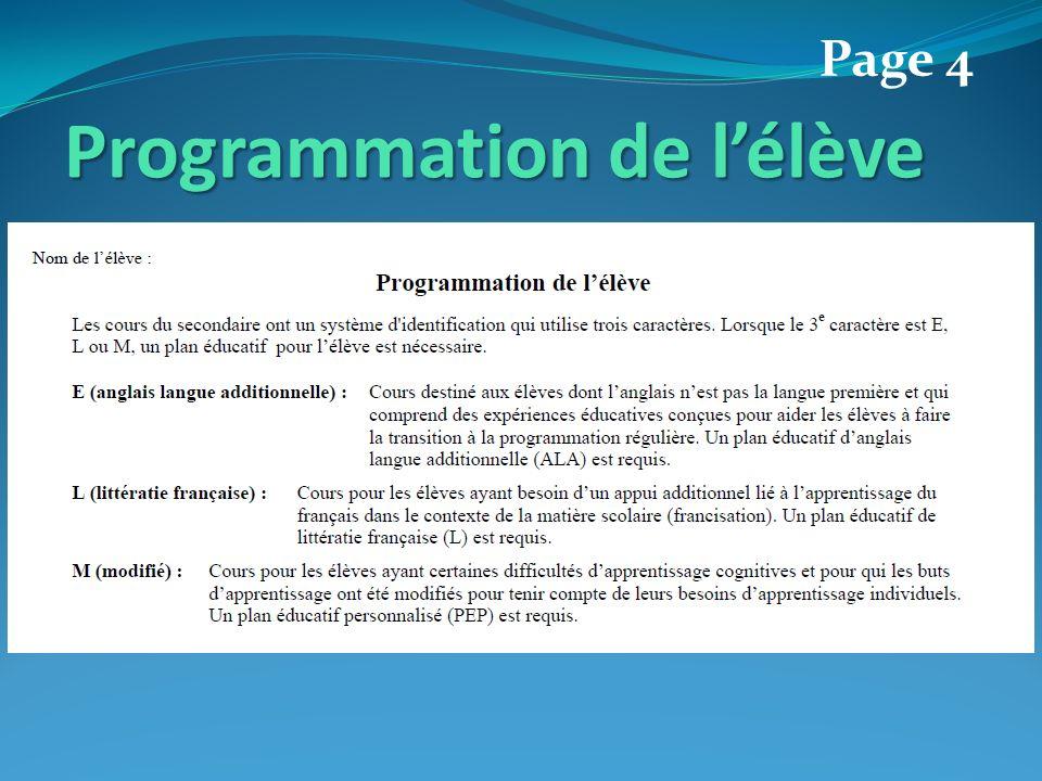 Programmation de lélève Page 4