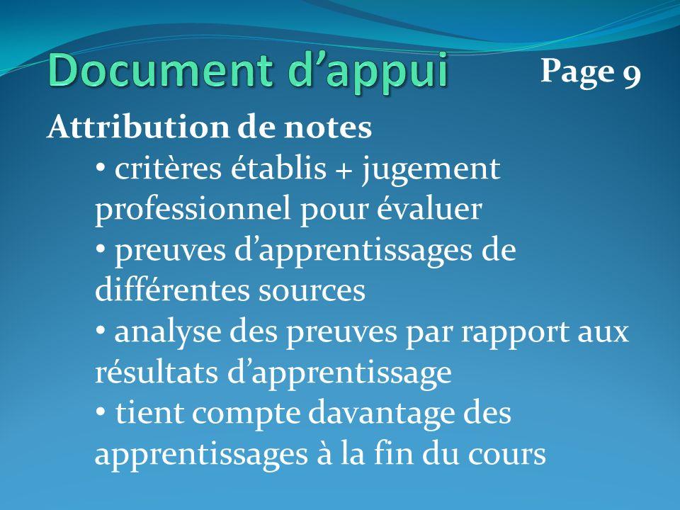 Attribution de notes critères établis + jugement professionnel pour évaluer preuves dapprentissages de différentes sources analyse des preuves par rapport aux résultats dapprentissage tient compte davantage des apprentissages à la fin du cours Page 9
