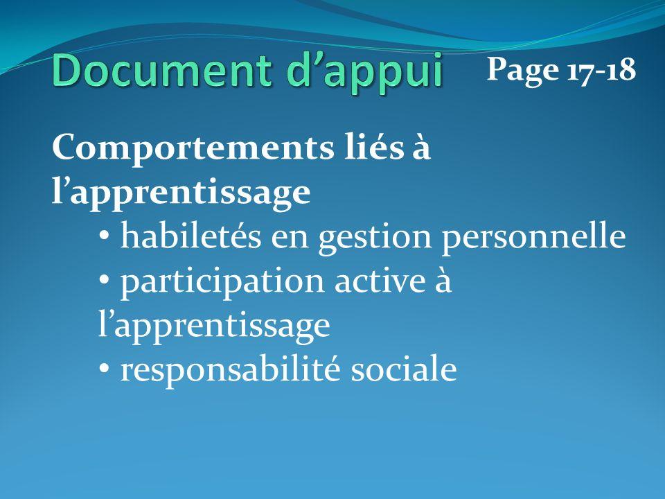 Comportements liés à lapprentissage habiletés en gestion personnelle participation active à lapprentissage responsabilité sociale Page 17-18