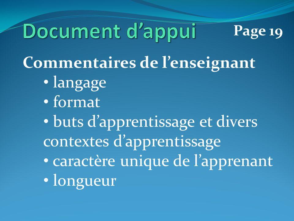 Commentaires de lenseignant langage format buts dapprentissage et divers contextes dapprentissage caractère unique de lapprenant longueur Page 19