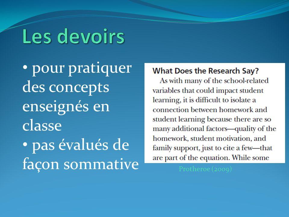 pour pratiquer des concepts enseignés en classe pas évalués de façon sommative Protheroe (2009)
