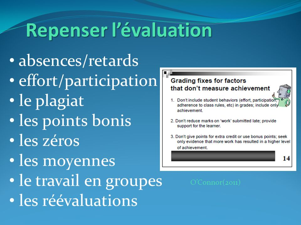 OConnor(2011) Repenser lévaluation absences/retards effort/participation le plagiat les points bonis les zéros les moyennes le travail en groupes les réévaluations