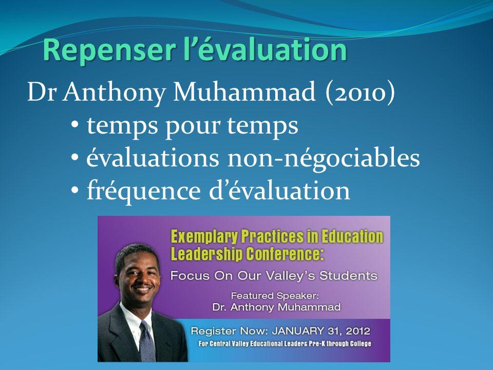 Repenser lévaluation Dr Anthony Muhammad (2010) temps pour temps évaluations non-négociables fréquence dévaluation