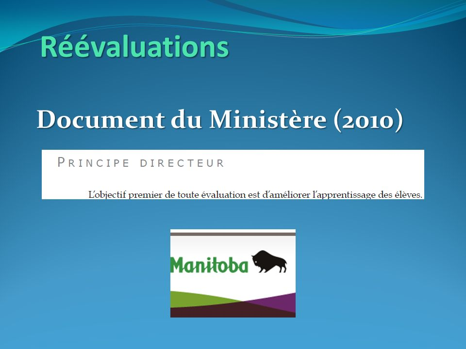 Réévaluations Document du Ministère (2010)