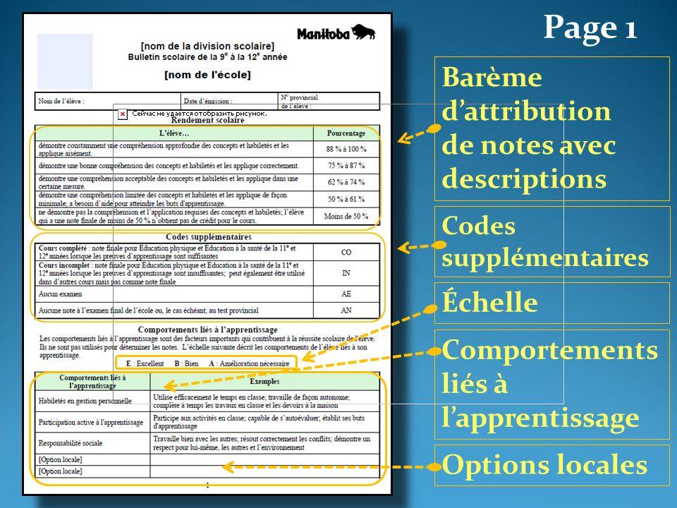 Page 1 Comportements liés à lapprentissage Codes supplémentaires Barème dattribution de notes avec descriptions Échelle Options locales