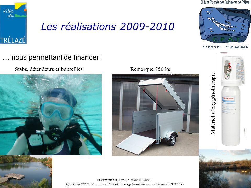 Les réalisations 2009-2010 … nous permettant de financer : Établissement APS n° 04909ET00040 Affilié à la FFESSM sous le n° 03490414 – Agrément Jeunes