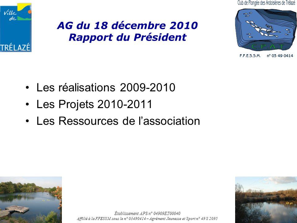 AG du 18 décembre 2010 Rapport du Président Les réalisations 2009-2010 Les Projets 2010-2011 Les Ressources de lassociation Établissement APS n° 04909