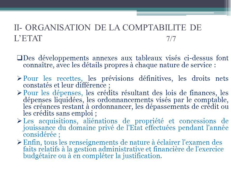 II- ORGANISATION DE LA COMPTABILITE DE LETAT 7/7 Des développements annexes aux tableaux visés ci-dessus font connaître, avec les détails propres à ch