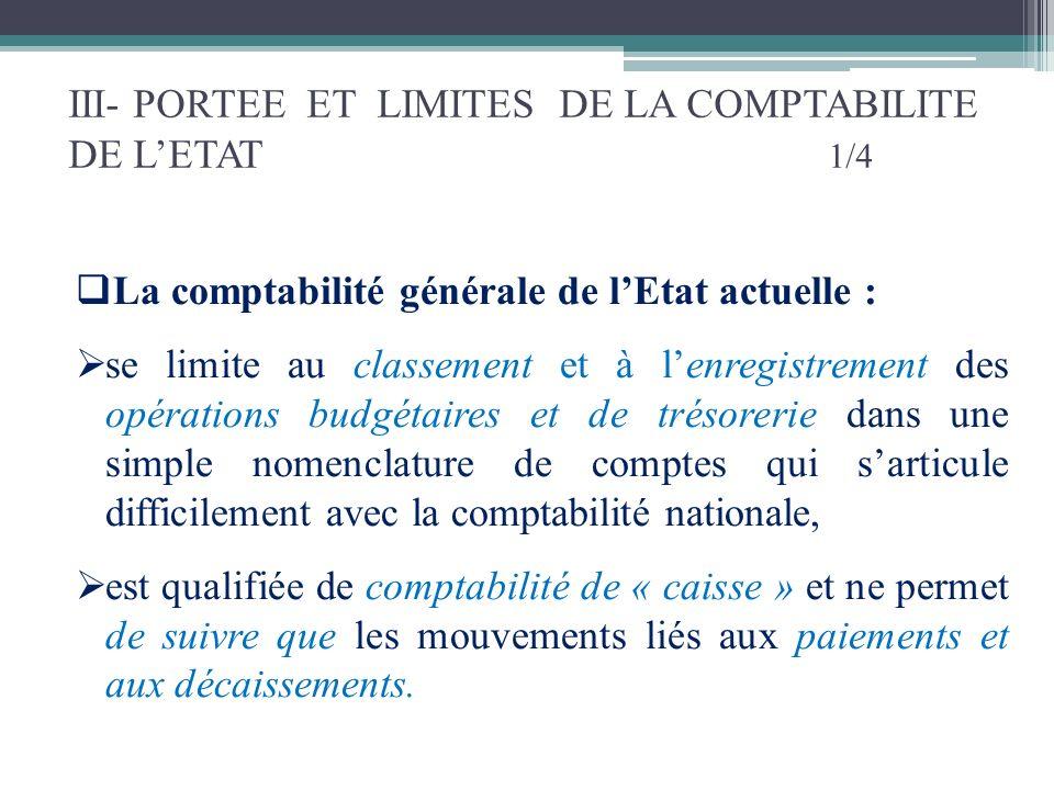 III- PORTEE ET LIMITES DE LA COMPTABILITE DE LETAT 1/4 La comptabilité générale de lEtat actuelle : se limite au classement et à lenregistrement des o