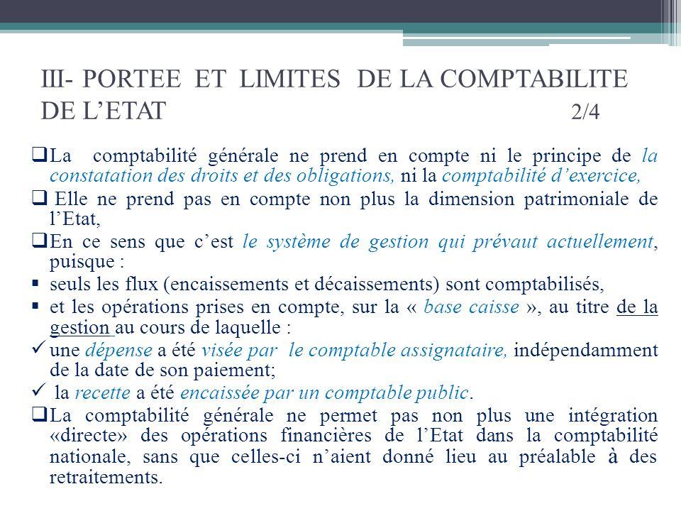 III- PORTEE ET LIMITES DE LA COMPTABILITE DE LETAT 2/4 La comptabilité générale ne prend en compte ni le principe de la constatation des droits et des