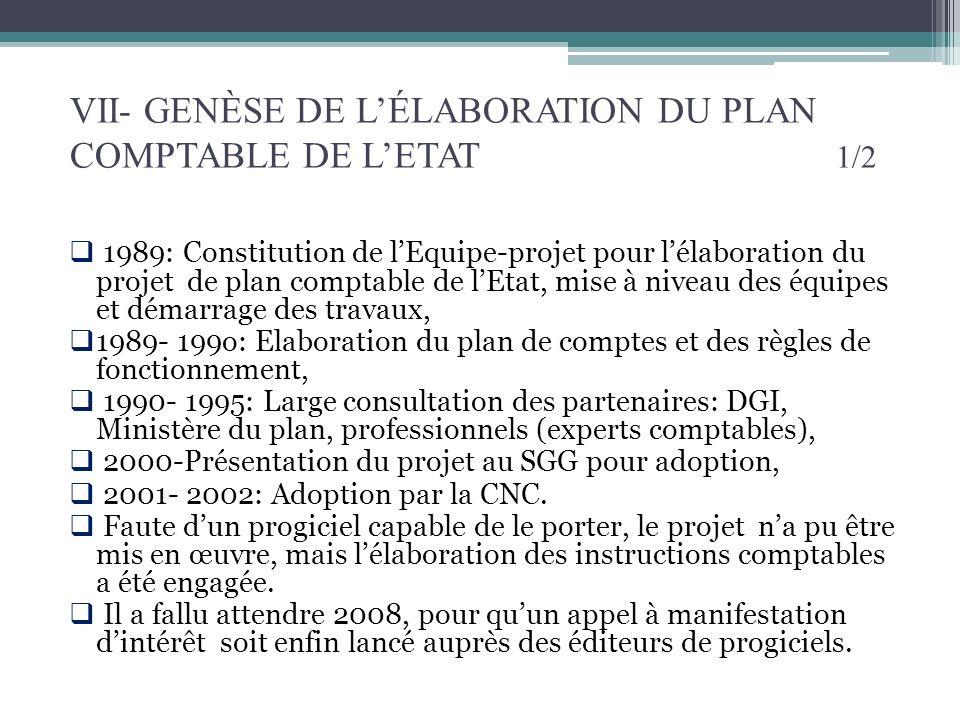 VII- GENÈSE DE LÉLABORATION DU PLAN COMPTABLE DE LETAT 1/2 1989: Constitution de lEquipe-projet pour lélaboration du projet de plan comptable de lEtat