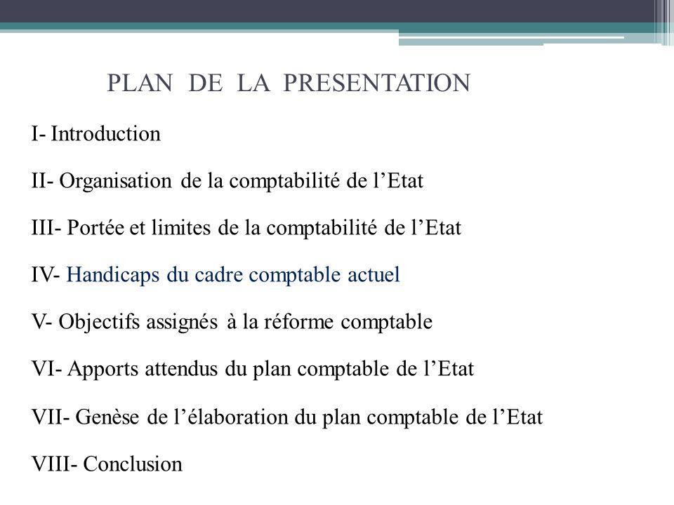 PLAN DE LA PRESENTATION I- Introduction II- Organisation de la comptabilité de lEtat III- Portée et limites de la comptabilité de lEtat IV- Handicaps